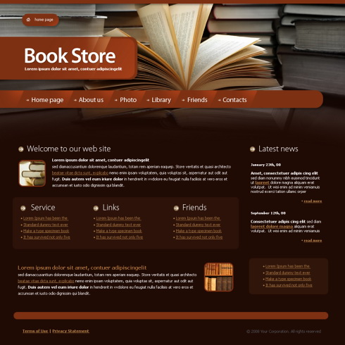 library web template 4212 education kids website templates dreamtemplate. Black Bedroom Furniture Sets. Home Design Ideas