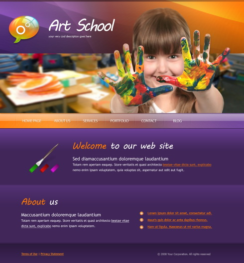 Painting Web Template 5610 Education Kids Website Templates Dreamtemplate
