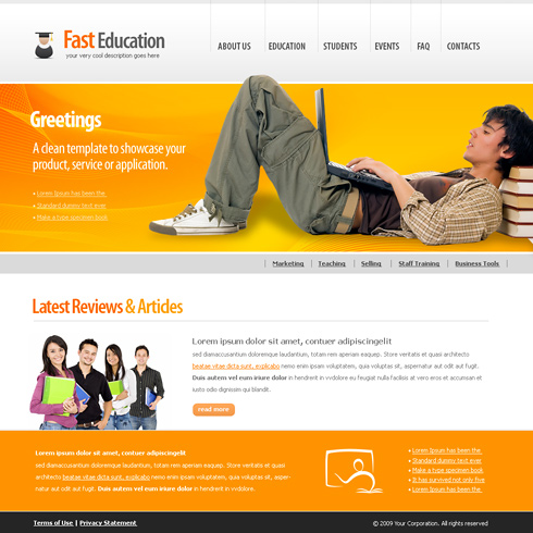 studying webpage template 6143 education kids website templates dreamtemplate. Black Bedroom Furniture Sets. Home Design Ideas