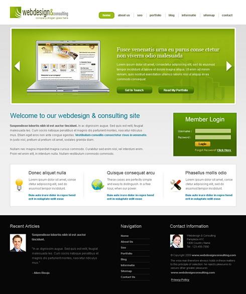 Green Html Templates Green Computer Web Template - 6441 - Computers & Technology - Website Templates - DreamTemplate