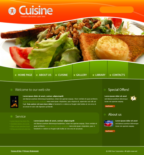 4218 food restaurant website templates dreamtemplate for Site cuisine