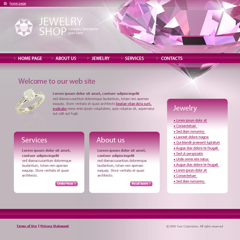 Jewelry Html Template 3665 Jewelry Website Templates