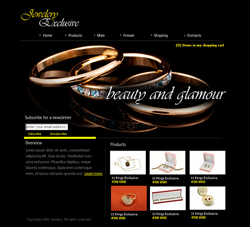 Jewelry Design all about me web page