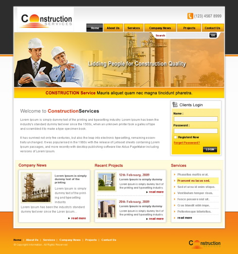 Construction webpage template 5699