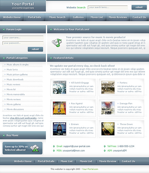 Music World Webpage Template - 0070 - Music - Website Templates ...