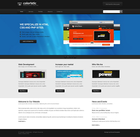 Coloristic Css Template Personal Css Templates Css