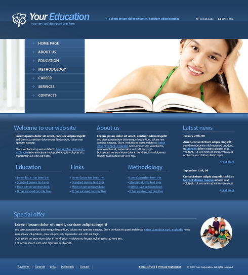 teaching web template 4332 education kids website templates dreamtemplate. Black Bedroom Furniture Sets. Home Design Ideas