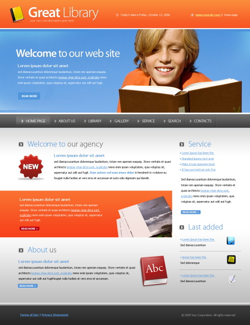 Great Library Webpage Template - 5547 - Education & Kids ...