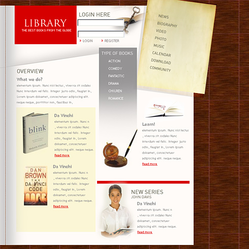Digital Library Website Template Education Kids - Library brochure templates