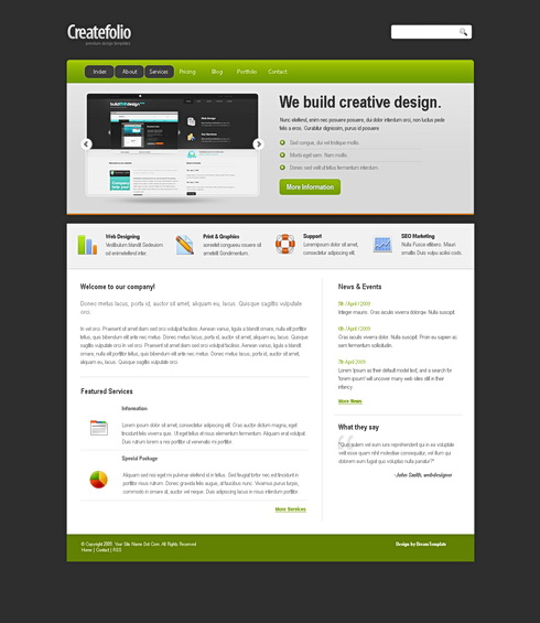 Createfolio css template corporate css templates css for Html table css template