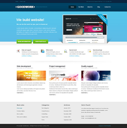 Goodwork html template corporate css templates css for Html table css template
