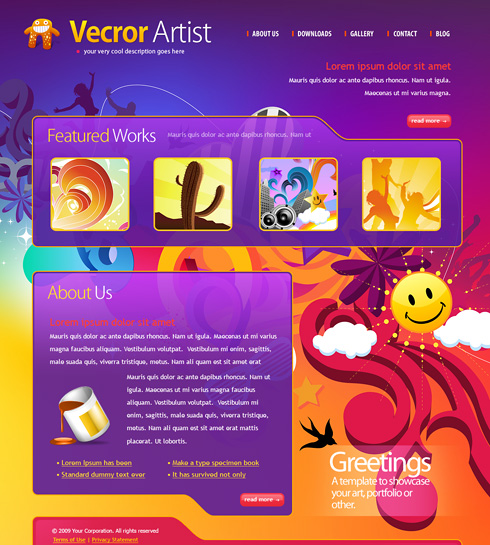Vector Artist Website Template 6140 Creative Design Website Templates Dreamtemplate,Negative Space One Logo Design