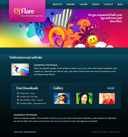 DJ Flare CSS Template - 6161 - Creative & Design - Website Templates ...
