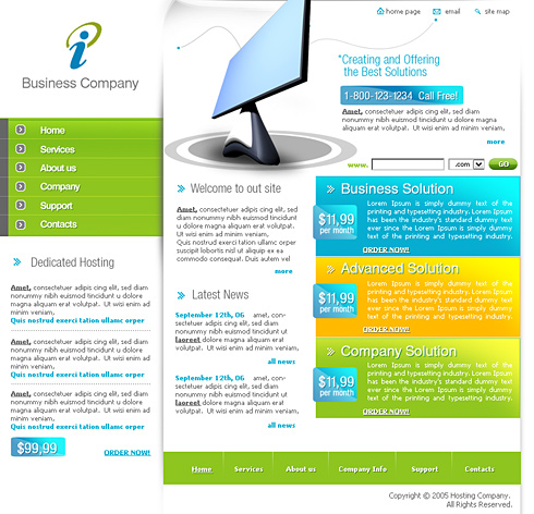 Web Solution CSS Template - 0387 - Computers & Technology ...
