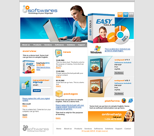 Software Packages Website Template - 0520 - Computers & Technology ...