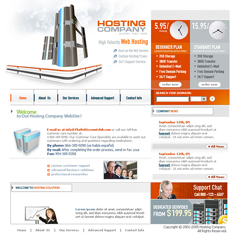 Web Hosts XHTML Template