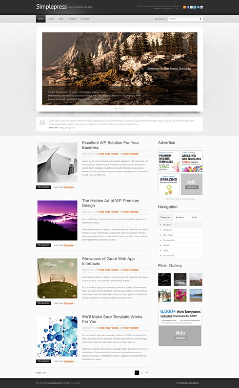 simplepress website template web blog corporate css templates dreamtemplate. Black Bedroom Furniture Sets. Home Design Ideas
