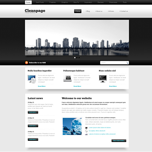 Blackwhite xhtml template web blog corporate css for Html table css template
