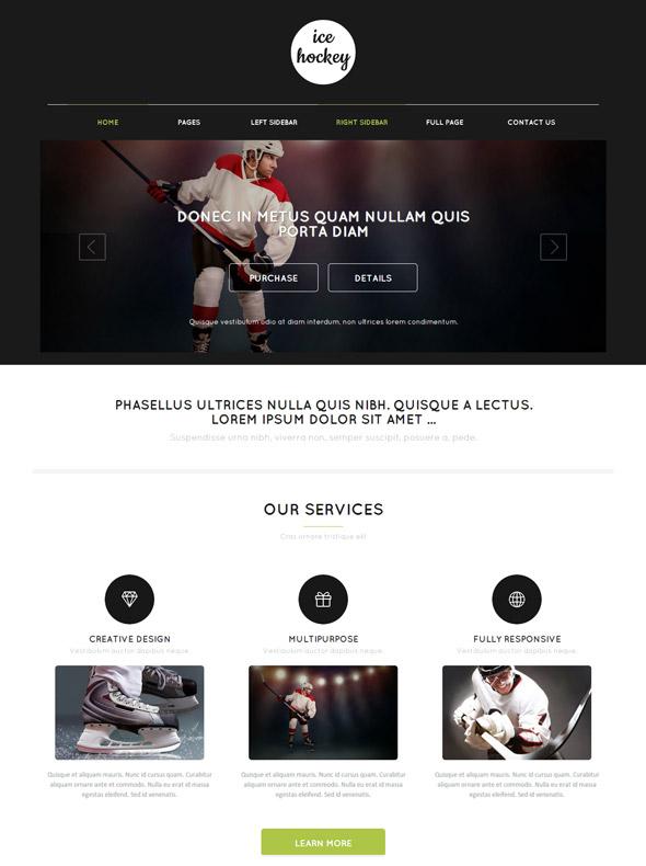 Ice hockey website template ice hockey sports dreamtemplate.