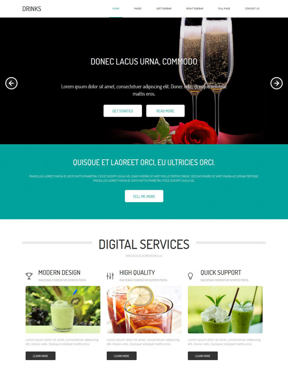 Cocktail website templates website templates food and drink soft.