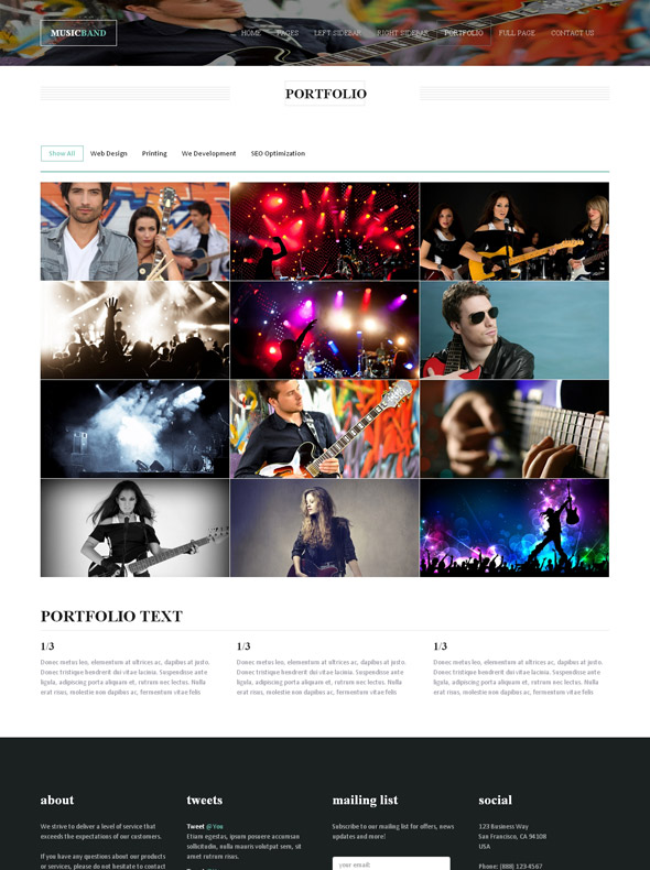 musical band website template music band website templates dreamtemplate. Black Bedroom Furniture Sets. Home Design Ideas