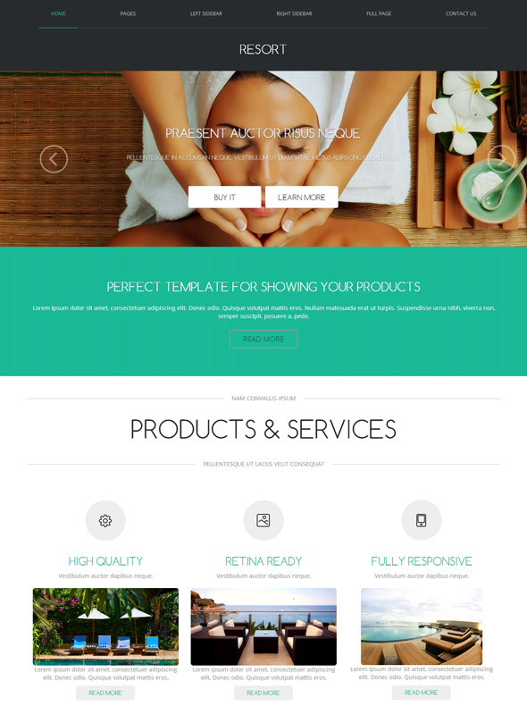 spa resort web template resort website templates dreamtemplate