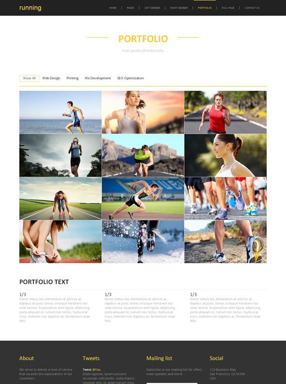 Common Running Site Template - Running - Website Templates -