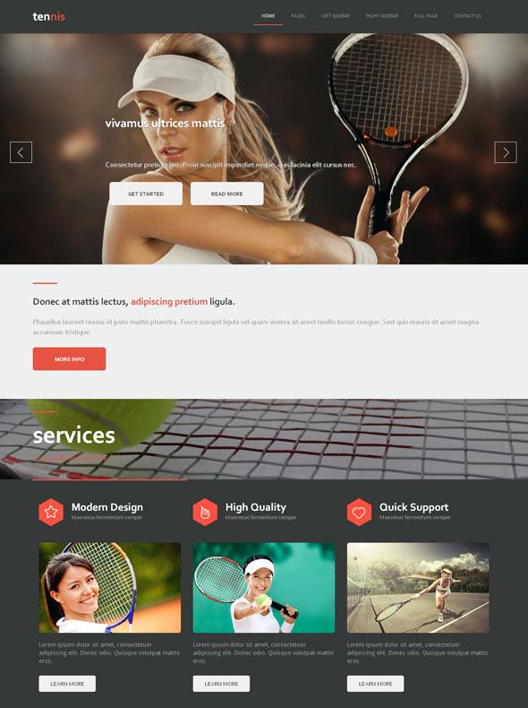 Tennis Academy Site Template - Tennis - Website Templates ...
