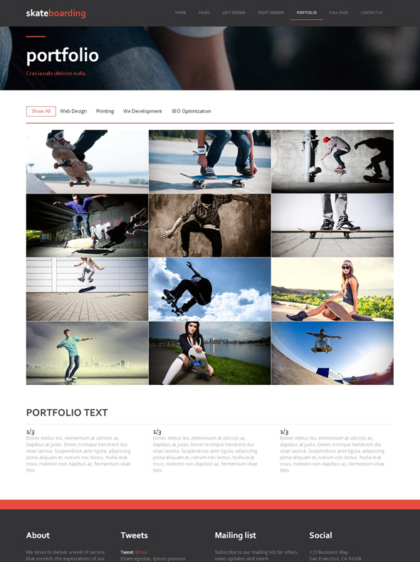 action sport site template skateboarding sports dreamtemplate