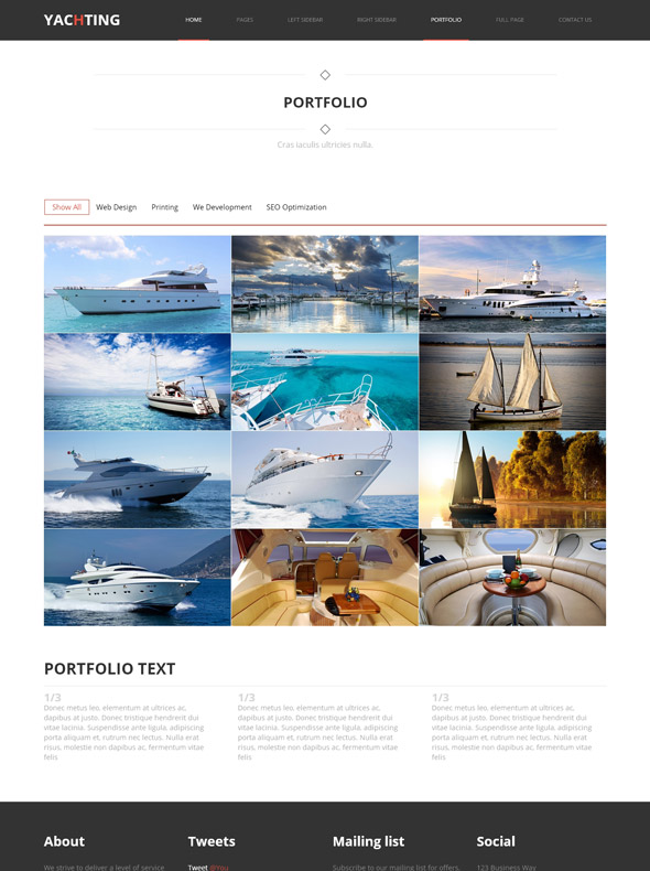 yacht charter web template yachting sports dreamtemplate