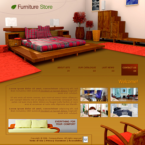 0739 interior furniture website templates for Interior furniture website