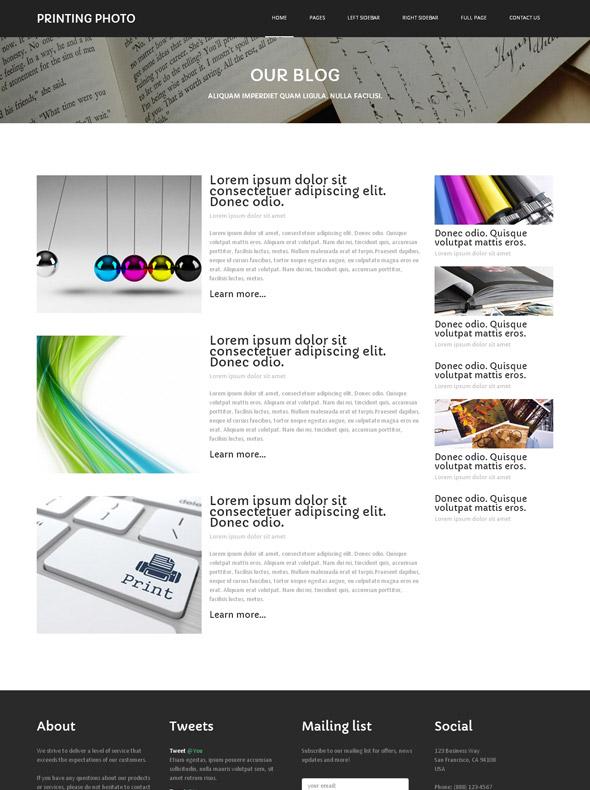 photo print website template photo printing art photography dreamtemplate. Black Bedroom Furniture Sets. Home Design Ideas