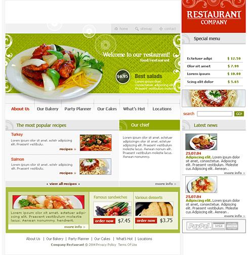 0579 food restaurant website templates dreamtemplate for Cuisine website
