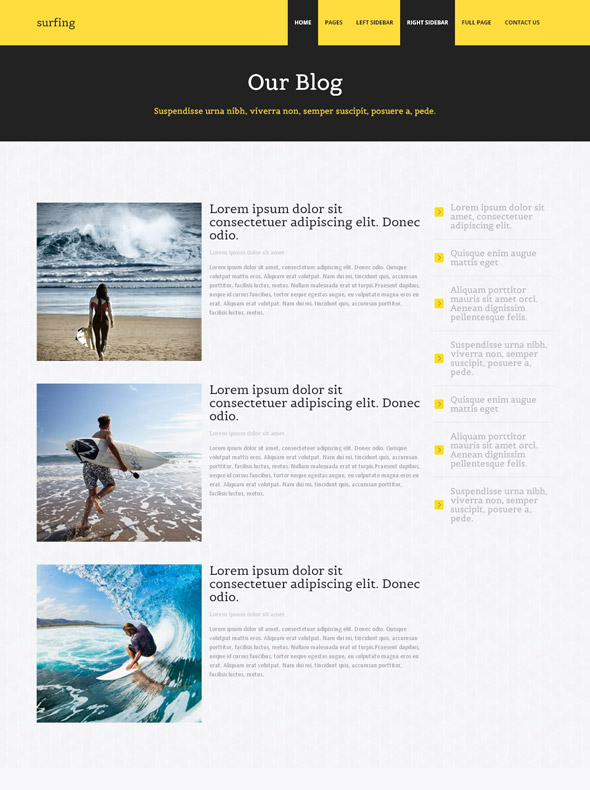 Body Surfing Website Template Surfing Sports