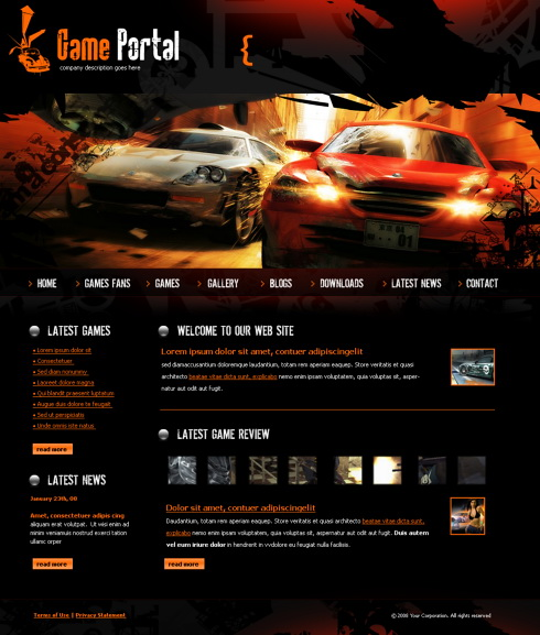 Game Portal HTML Template Cars Transportation Website - Gaming website template