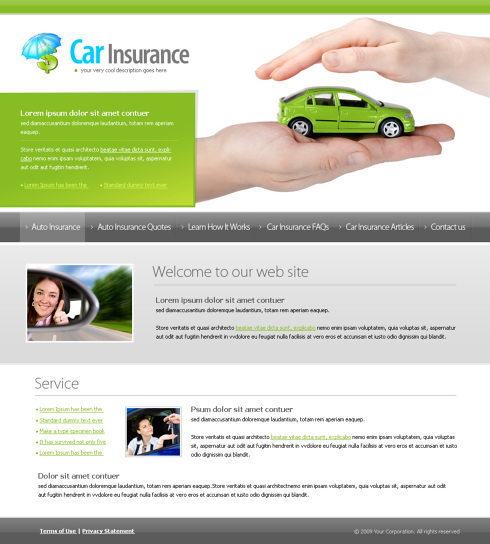 insurance free template  Car Insurance Website Template - 6155 - Cars