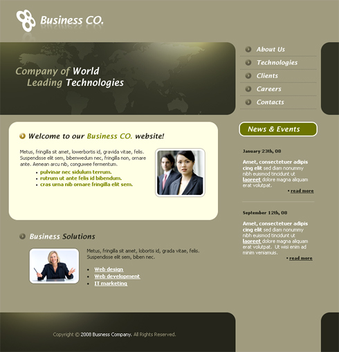 Professional CSS Template Clean Corporate Website - Professional website templates