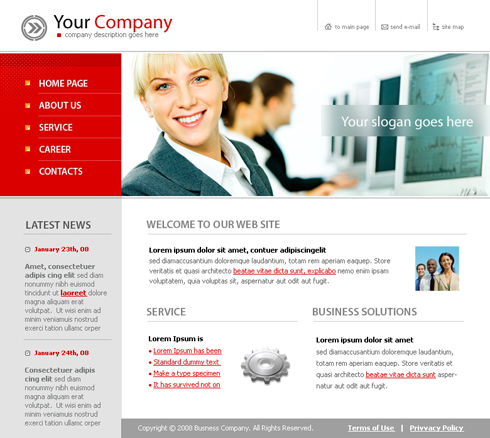 Client Support XHTML Template - 3663 - Clean & Corporate - Website ...