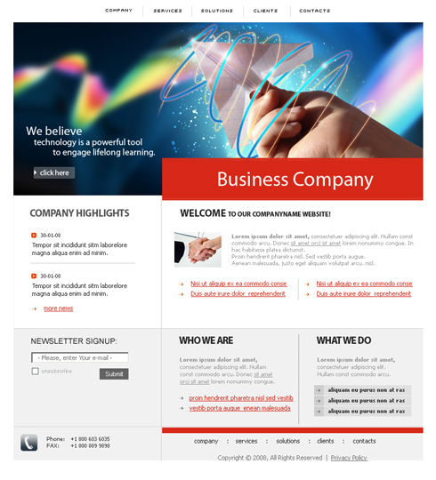 Colorful CSS Template - 3614 - Business - Website Templates ...