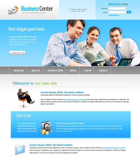 Business Center Webpage Template - 6166 - Business - Website ...