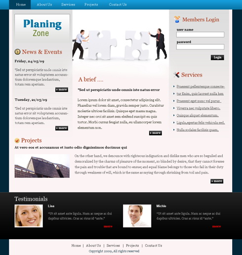 planning puzzle webpage template 6356 business website