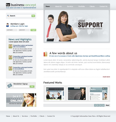 Tech Support Web Template - 6413 - Business - Website Templates ...
