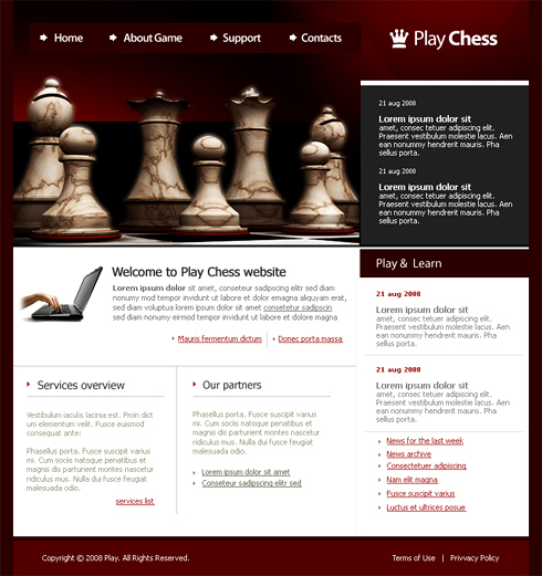 Chess Webpage Template - 3374 - Games & Fun - Website Templates ...