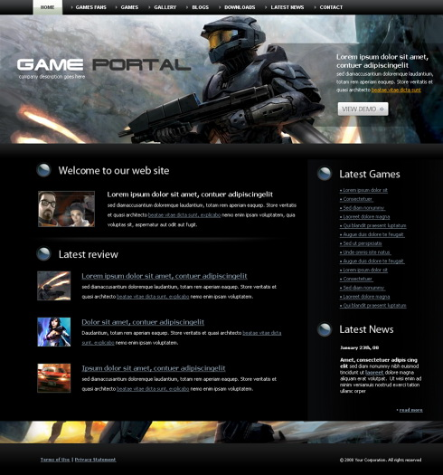 Gun Fire HTML Template Games Fun Website Templates - Gaming website template