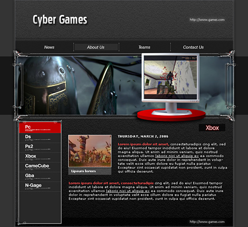 cyber games css template 0575 games fun website templates
