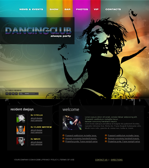 Music Junction Website Template Entertainment Media - Dj website templates