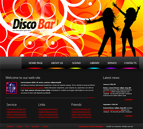 Disco Bar Web Template - 4169 - Entertainment & Media - Website ...