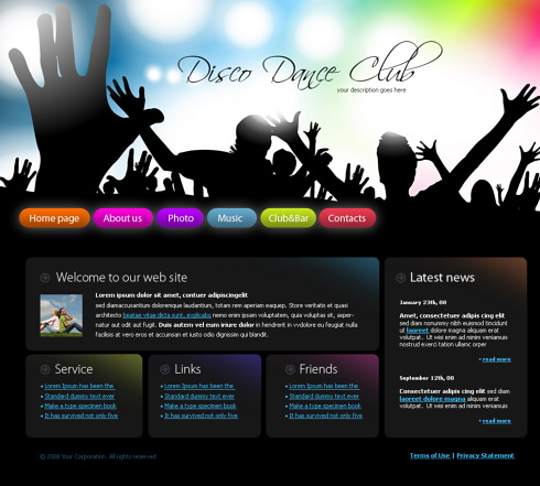 Party XHTML Template - 4262 - Entertainment & Media - Website ...