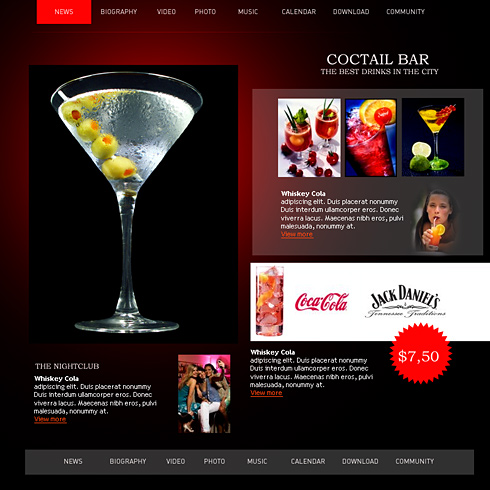 nightclub bar website template 0867 entertainment media website templates dreamtemplate. Black Bedroom Furniture Sets. Home Design Ideas