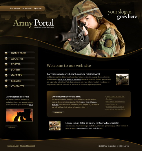 army defence website template 4341 military security website